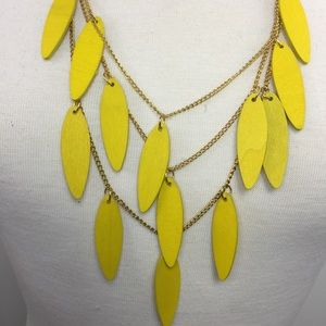 Yellow Wood Triple Strand Statement Necklace